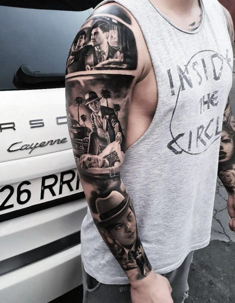 30 Jahre Gangster Black and Grey Tattoo