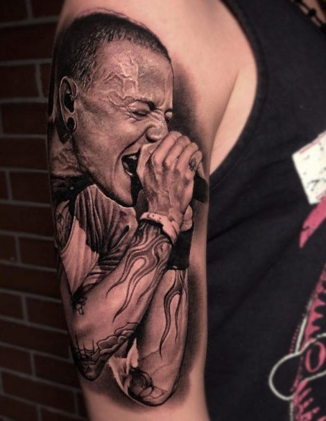 3d Realistic Tattoo Linkin Park Chester Bennington