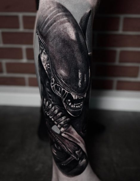 Alien Black and Grey Tattoo