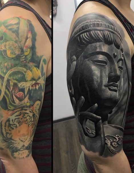 Asia Tattoo Buddha Cover up