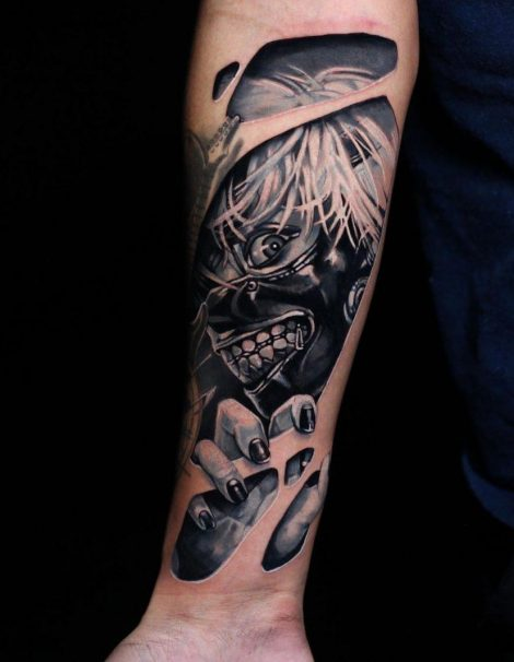 Biomechanic Black and Grey Tattoo
