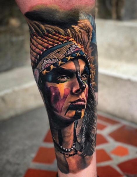 Color Tattoo Indianer