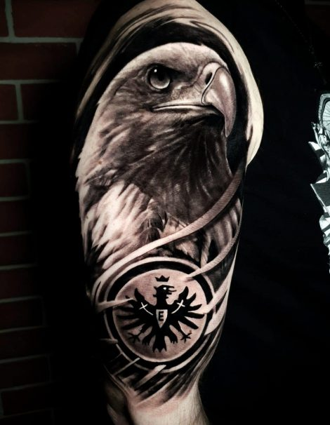 Eintracht Frankfurt Adler Black and Grey Tattoo