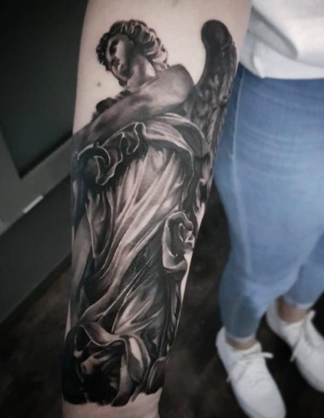 Engels Black and Grey Tattoo