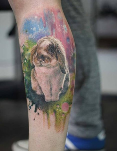 Hase auf Wader Color Tattoo