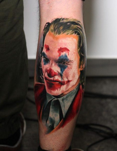 Joker auf Wade Color Tattoo