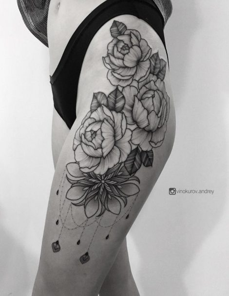 Linework Dotwork Tattoo Bein