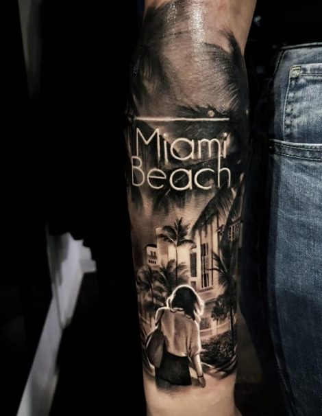 Miami Beach und Palmen Tattoo
