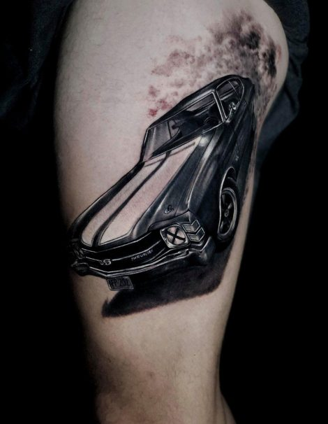 Mustang auf Bein Black and Grey Tattoo