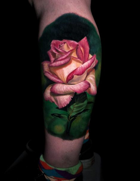 Rose auf Wade Color Tattoo