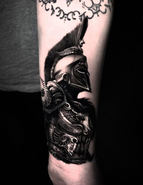 Spartiat Krieger Black and Grey Tattoo